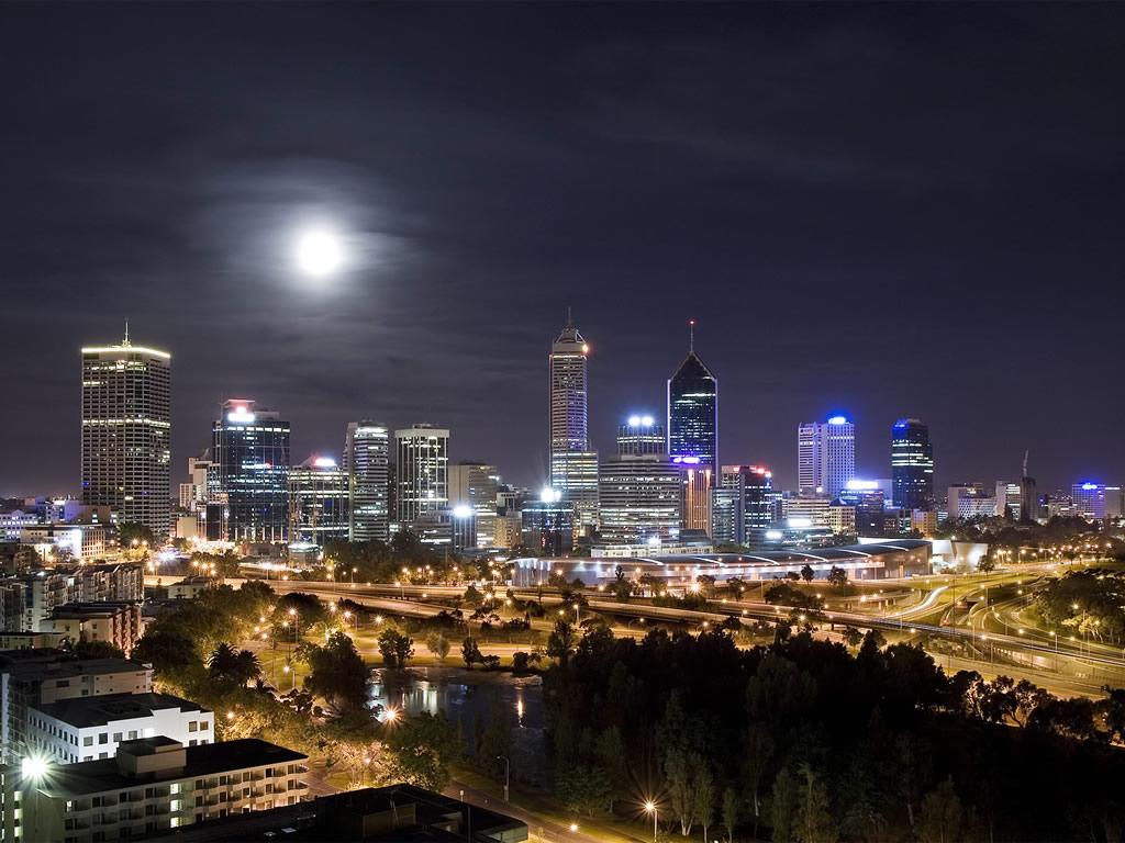 Amazing Modern City Night Moon Wallpaper Photo Picture
