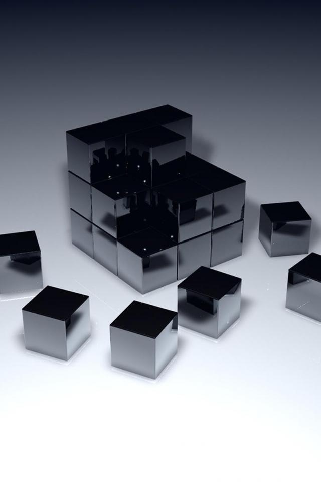 3D Black Cubes Iphone 4 Wallpapers Free HD Apple Iphone