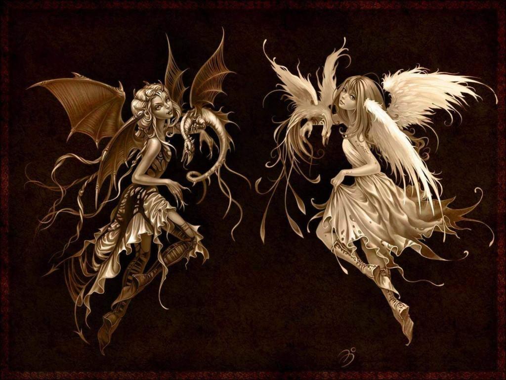 Anime Angel And Demon HD Wallpaper Background Widescreen Desktop