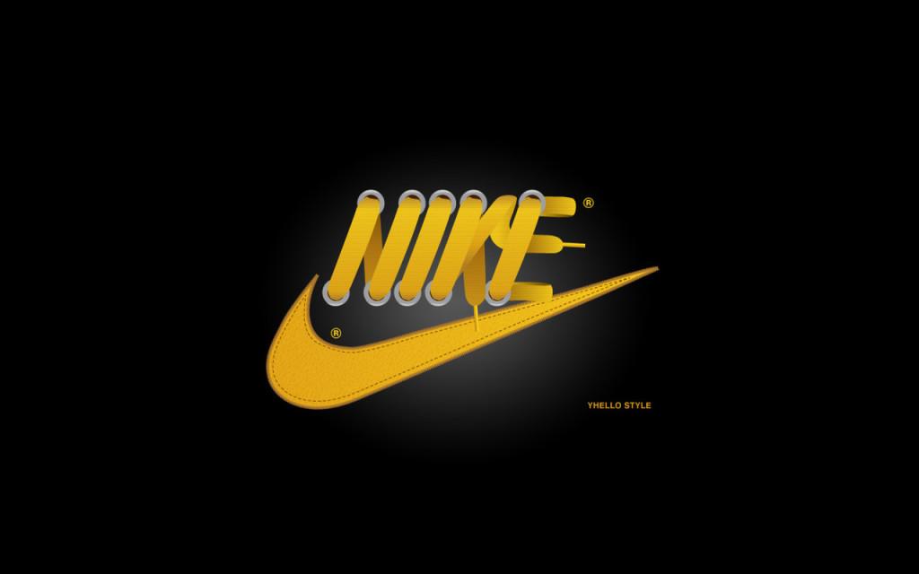 Yellow Nike Font And Logo Black Background Wallpaper Image
