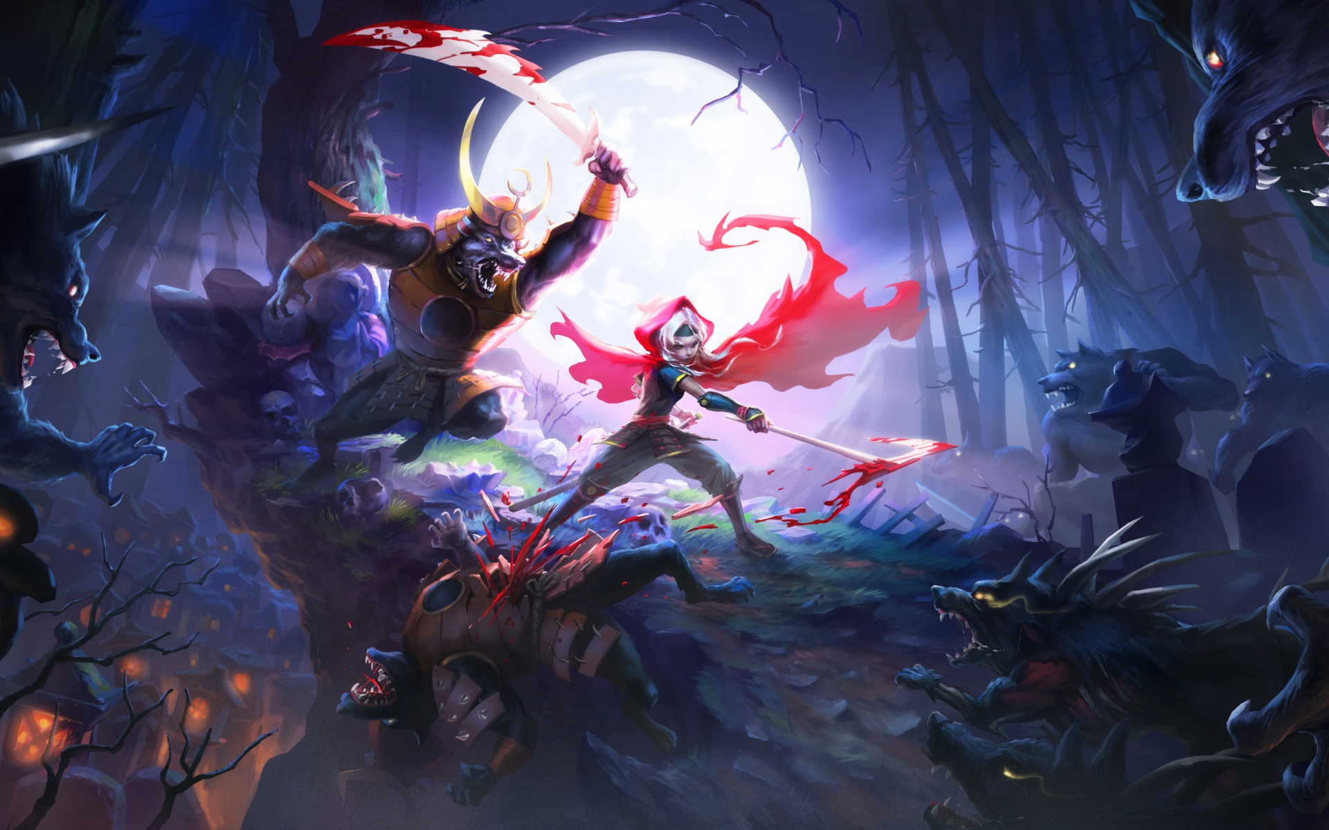 Akaneiro Demon Hunters And White Moon HD Wallpaper Image Picture
