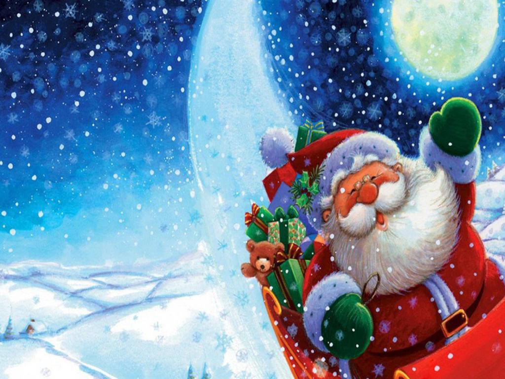 Free Download Merry Christmas Santa Claus HD Wallpaper Image Picture
