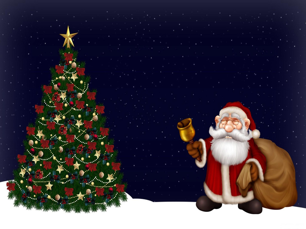Santa Claus And Christmas Tree Wallpaper HD Widescreen For PC Computer