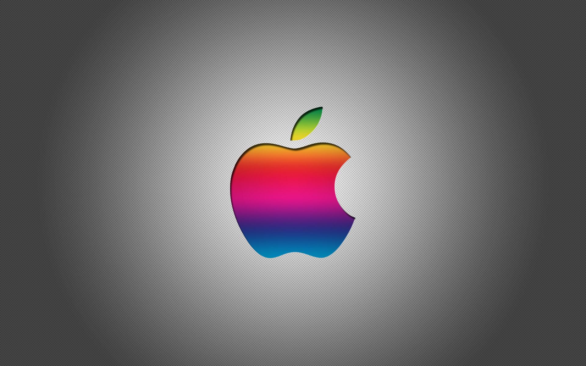 Colorful Apple Logo With Grey Background HD Wallpaper Desktop Mac