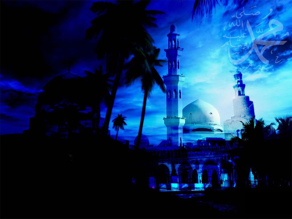 Amazing Dark Blue Mosque Islamic HD Wallpaper Picture